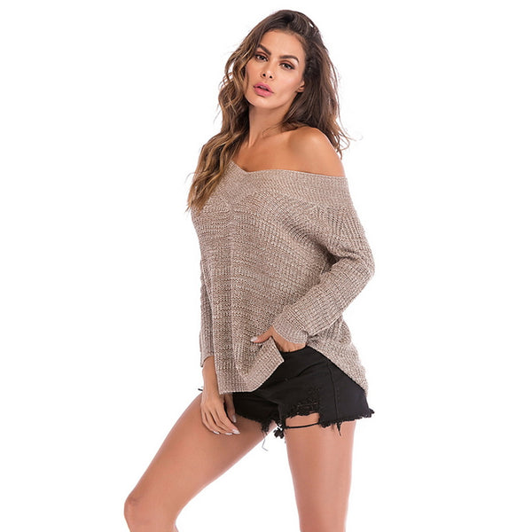 Women's Solid Colored Long Sleeve Pullover, V Neck Khaki