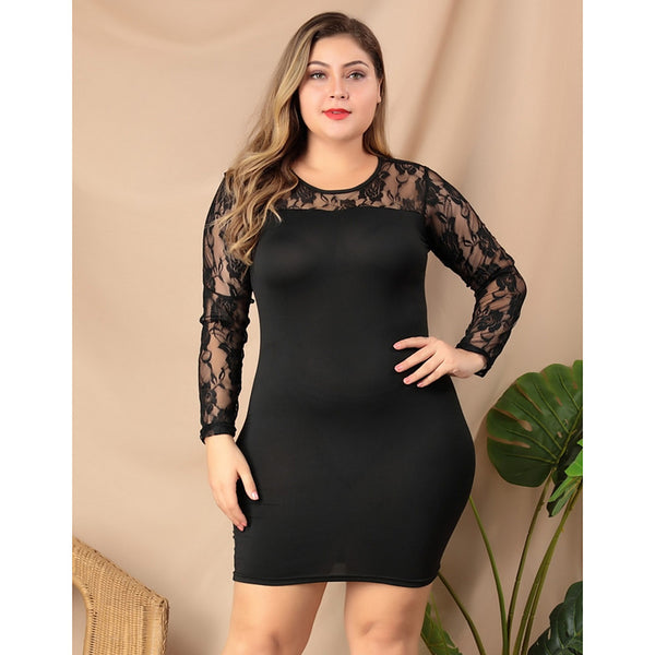 Women's Sheath Dress - Solid Colored Lace Black