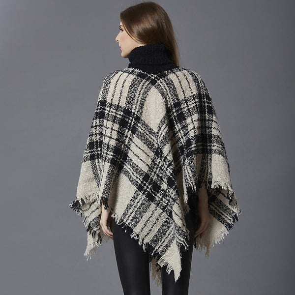 Women's Check Long Sleeve Cloak / Capes, Halter Neck Fall / Winter Khaki / White / Red One-Size