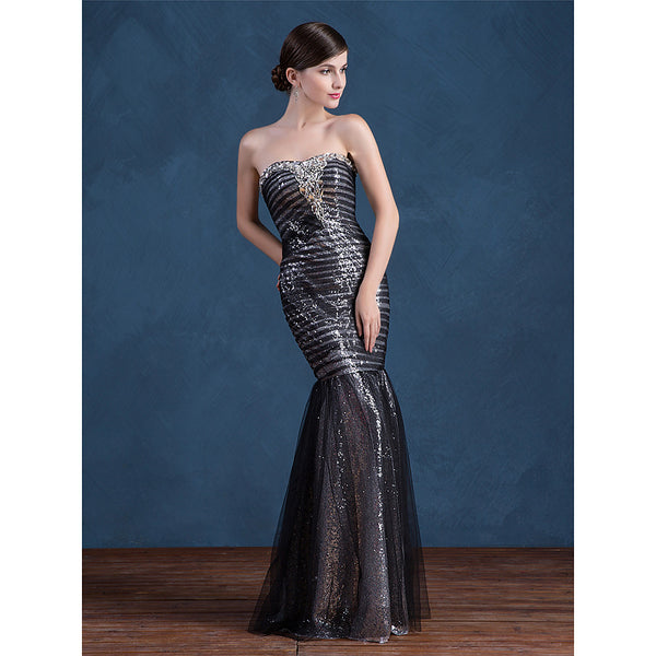 Mermaid Trumpet Strapless Floor Length Sequined Formal Evening Dress