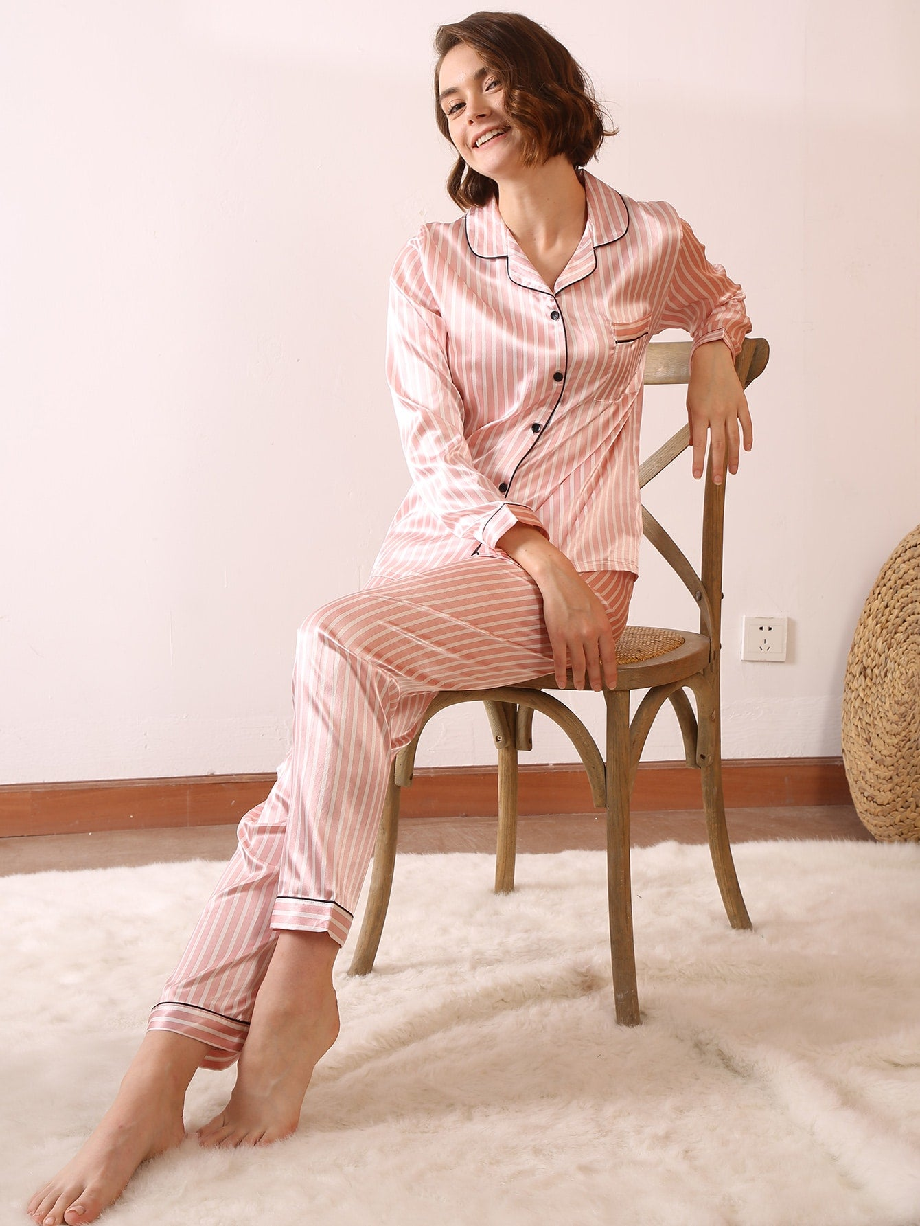 Striped Pocket-up Satin PJ Set