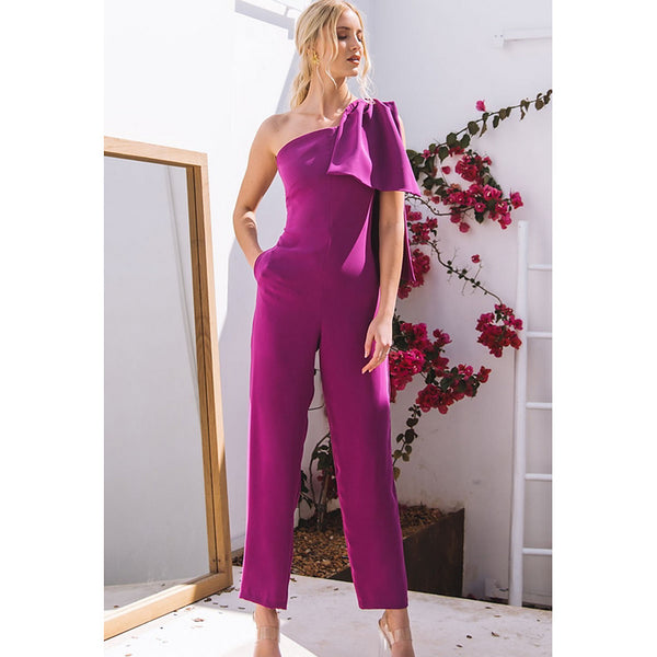 Women's Basic Fuchsia Jumpsuit, Solid Colored M L XL