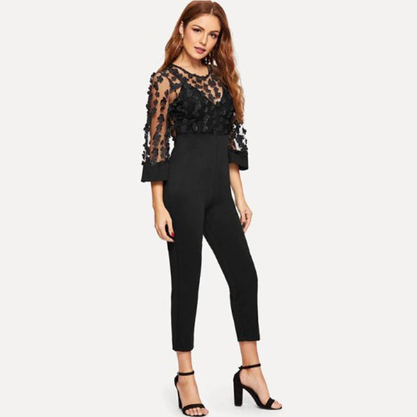 Women's Street chic / Sophisticated Black Jumpsuit, Solid Colored M L XL