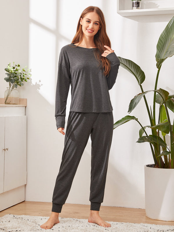Solid Pocket Detail PJ Set