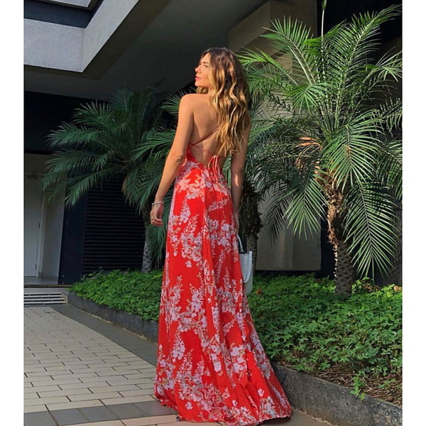 Women's Elegant Swing Dress - Floral Backless Red M