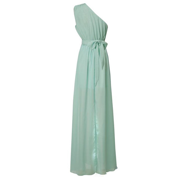 Women's Cocktail Party Holiday Beach Maxi Slim Swing Abaya Dress - Solid Colored Layered Pleated Sexy One Shoulder