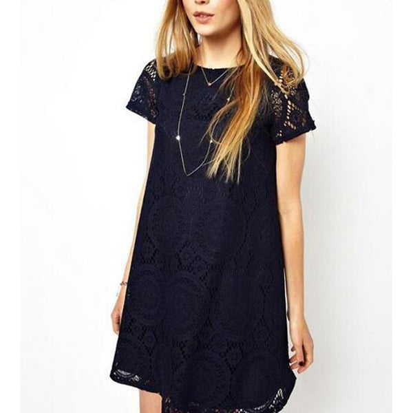 Women's Lace Plus Size Going out Weekend Sophisticated Loose Lace Dress - Solid Colored Summer Navy Blue Red Green