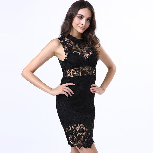 Women's Lace Club Mini Sheath Lace Dress