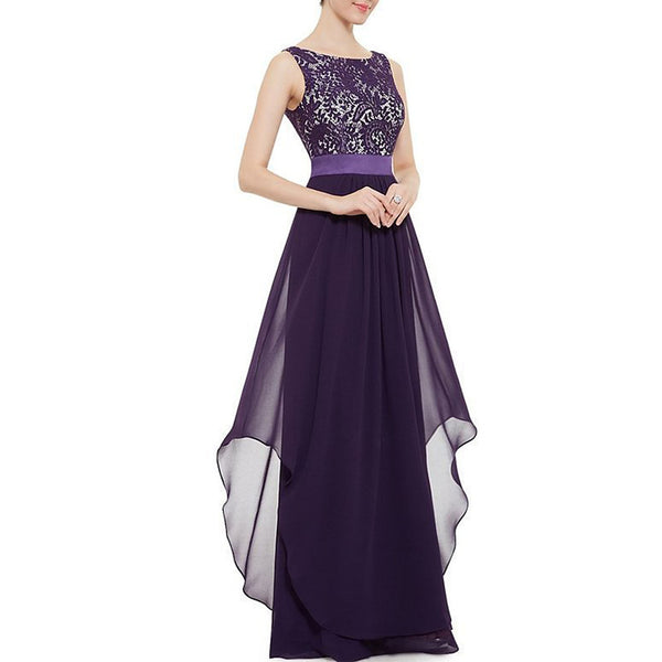 Women's Party Going out Elegant Maxi Swing Dress - Solid Colored Lace Spring Purple Wine Royal Blue