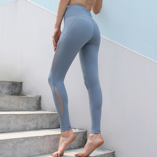 Women's High Rise Yoga Pants Stripes Dusty Blue Mesh Fitness Gym Workout Tights Bottoms
