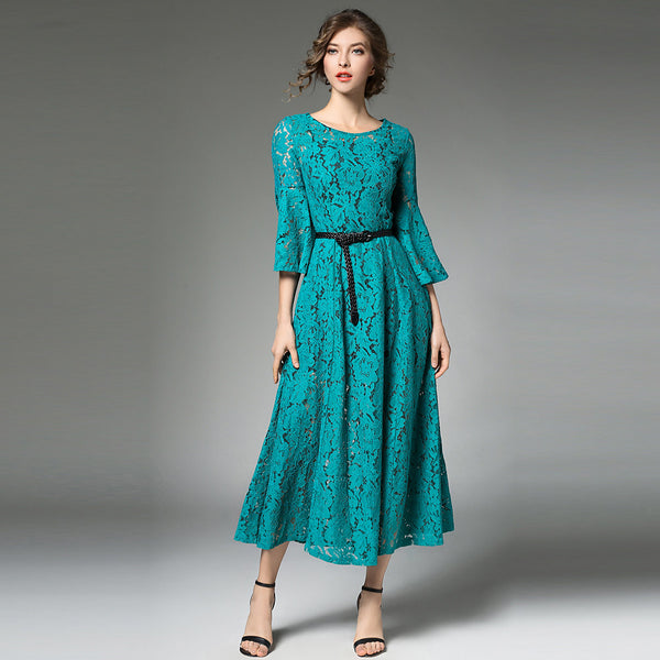 Women's Going out Vintage / Sophisticated Flare Sleeve A Line Dress - Patchwork Lace