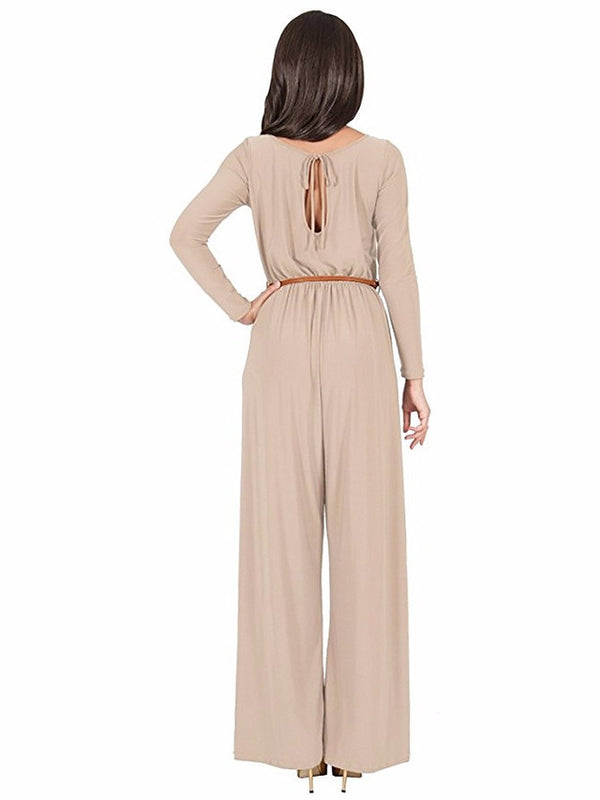 Women's Daily Wine Khaki Wide Leg Jumpsuit, Solid Colored  Long Sleeve