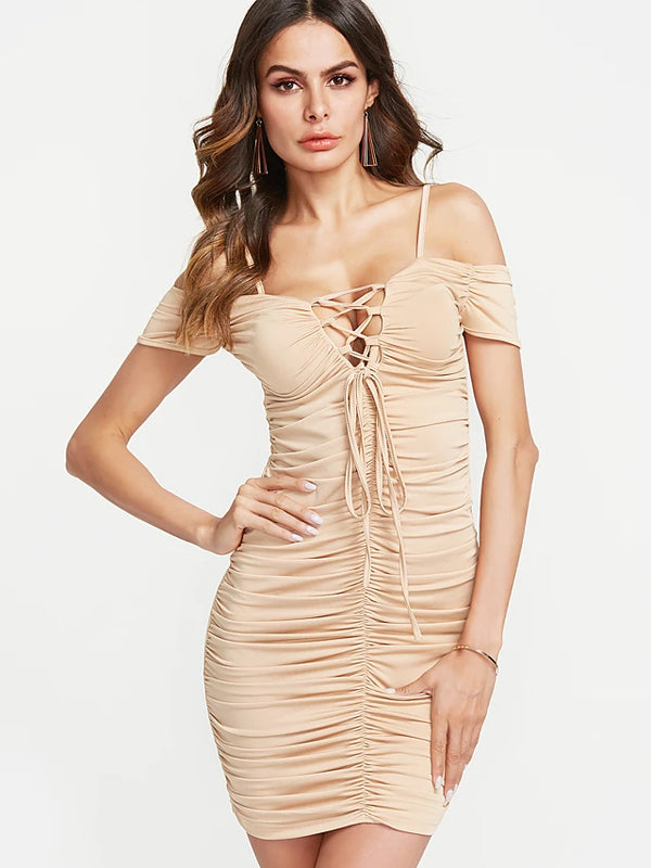 Women's Off Shoulder Party Club Sexy Mini Skinny Bodycon Dress - Solid Colored Ruched Lace up Off Shoulder
