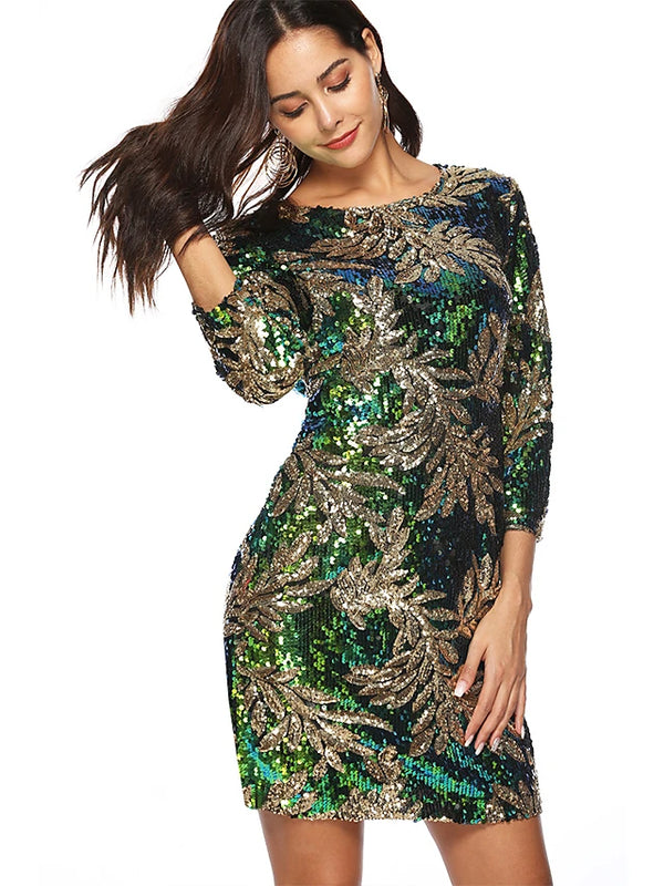 Women's Party Birthday Sophisticated Sheath Dress Sequins High Waist Crew Neck Fall Green