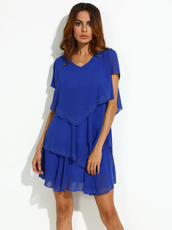 Women's Ruffle Plus Size Daily Weekend Loose Skater Dress - Solid Colored Blue, Layered V Neck Summer Black Orange Blue