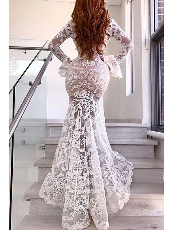 Party Elegant Sheath Dress Robe With Slit Lace Femme Vestidos Deep V White Mermaid Dresses