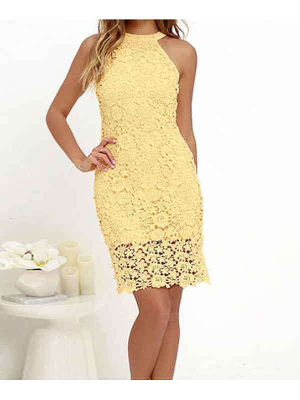 Women's Lace Plus Size Party Going out Sophisticated Mini Sheath Dress - Solid Colored Lace Halter Neck