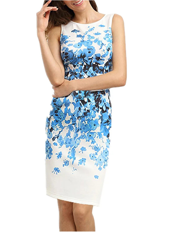 Women's Floral Daily Going out Sophisticated Sheath Dress - Floral White, Print Spring