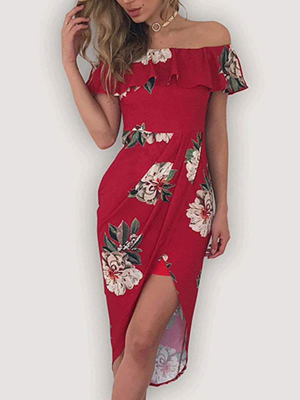 Women's Off Shoulder Holiday Going out Sexy Asymmetrical Sheath Dress - Floral Red, Print Off Shoulder