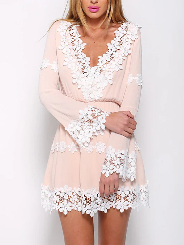 Women's Going out Weekend Flare Sleeve Mini A Line Sundress - Solid Colored Lace Deep V Fall Pink