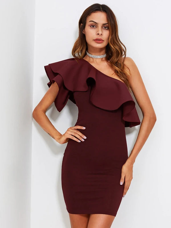 Women's Ruffle Going out Mini Skinny Bodycon Dress - Solid Colored High Waist One Shoulder Summer Black Wine