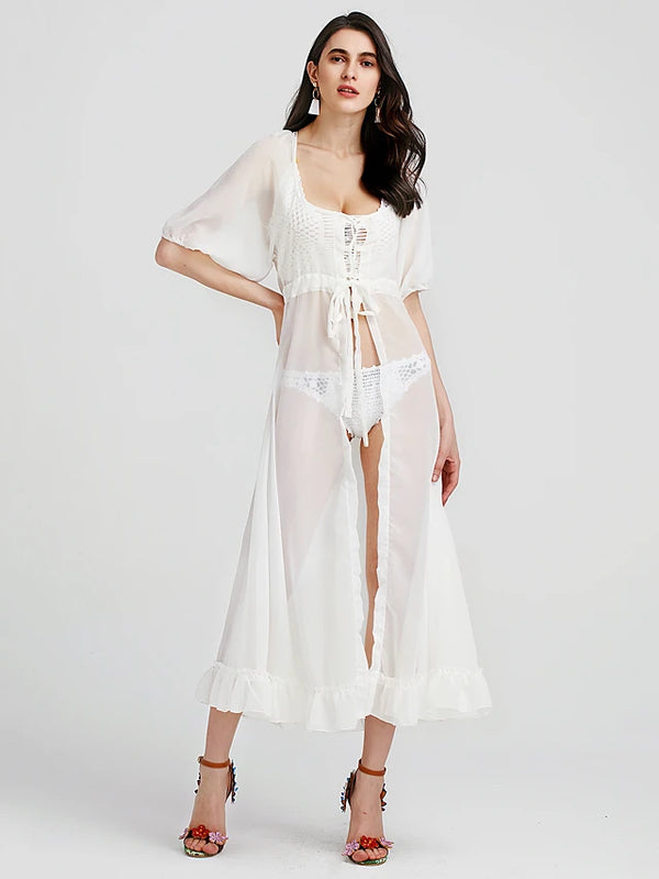 Women's Party Holiday Going out Lantern Sleeve Maxi Chiffon Swing Dress - Solid Colored White, Lace Cut Out Criss Cross Halter Neck Summer Cotton Lace White One-Size / Beach