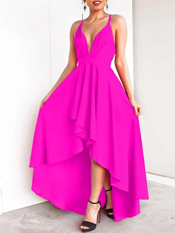 Women's Party Birthday Basic Maxi Slim Sheath Dress - Solid Colored Backless Deep V Spring