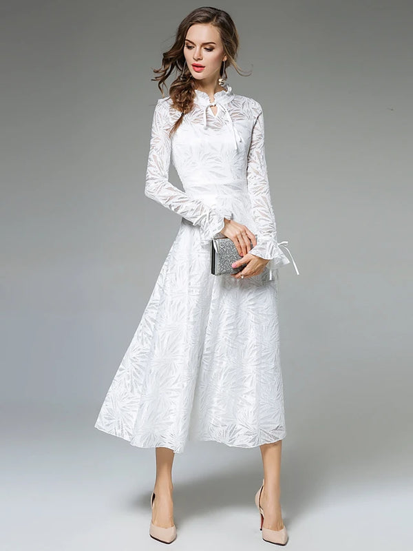 Women's Going out A Line Dress - Solid Colored Lace Stand