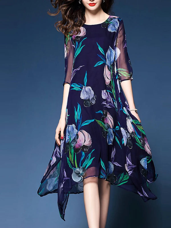 Women's Floral Plus Size Going out Chiffon Dress