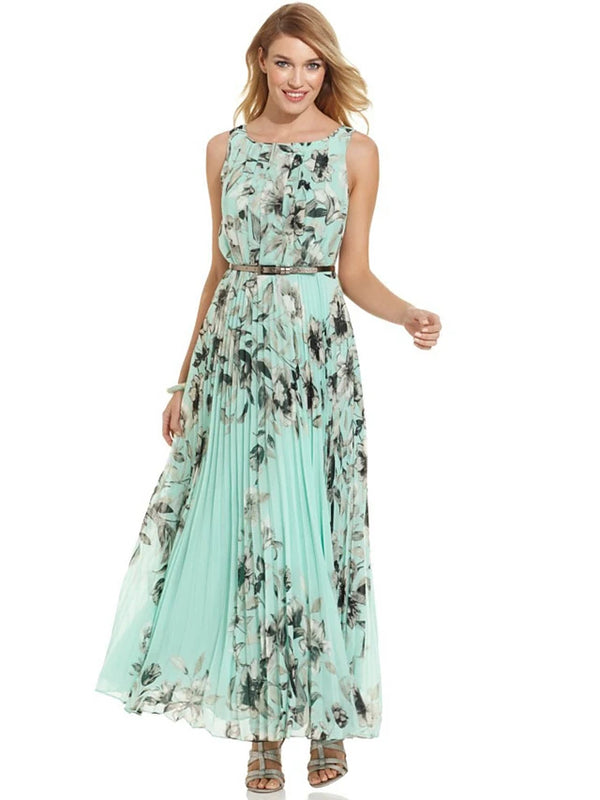 Women's Boho Holiday Beach Sophisticated Maxi Swing Dress Pleated Print