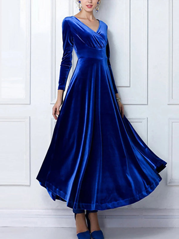 Women's Velvet Plus Size Party Maxi Swing Dress - Solid Colored Blue V Neck Spring Cotton Velvet