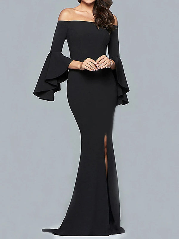 Women's Sophisticated Elegant Sheath Dress - Solid Colored Backless Black Red Wine