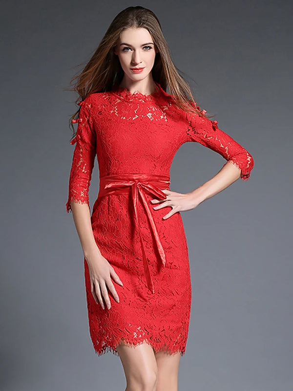 Women's Lace Party / Holiday / Going out Vintage / Sophisticated Bodycon Dress - Patchwork Turtleneck Cotton Red
