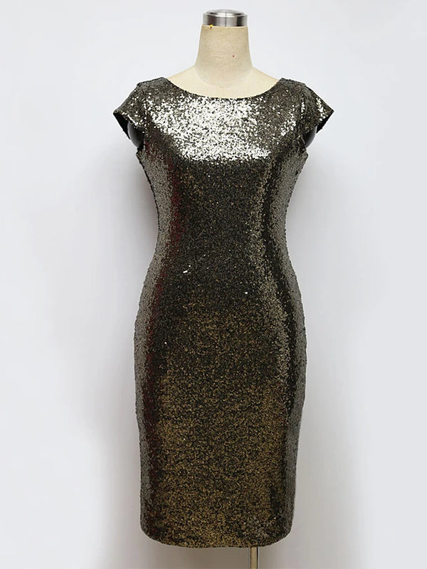 Women's Party Birthday Skinny Bodycon Dress Sequins High Waist Spring Gold