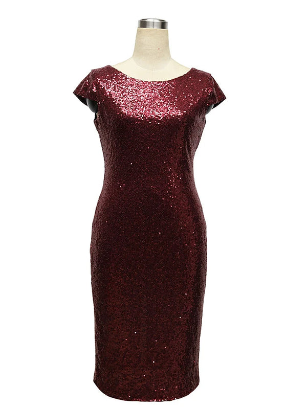 Women's Party Birthday Skinny Bodycon Dress Sequins High Waist