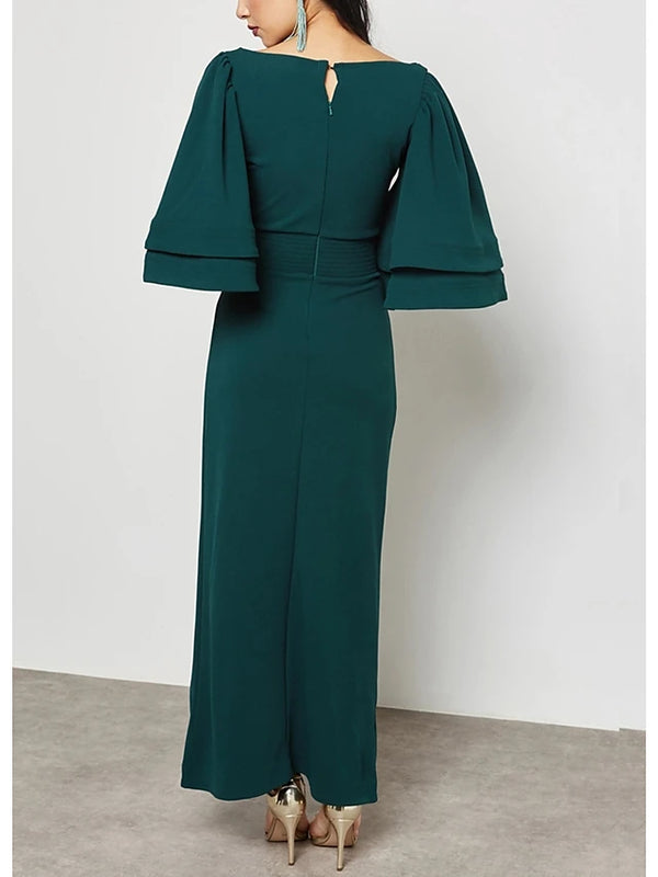 Women's Flare Sleeve Plus Size Party / Going out Street chic / Sophisticated Maxi Slim Bodycon / Shift / Sheath Dress - Solid Colored High Waist V Neck Spring Green