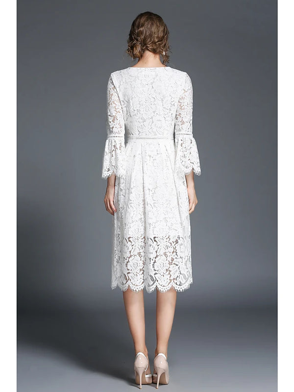 Women's Lace Daily Chinoiserie Swing Dress