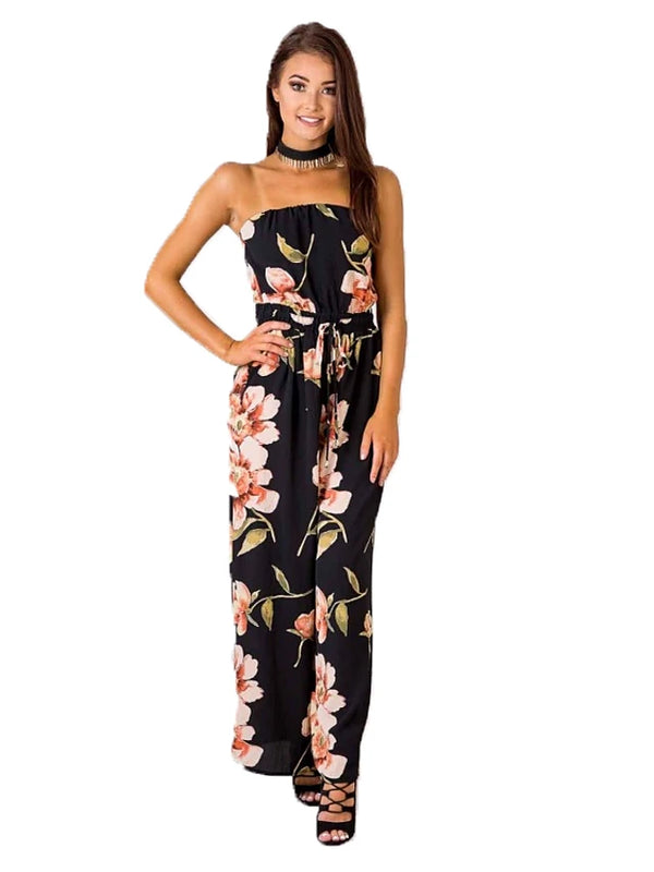 Women's Daily / Going out Active / Basic Strapless Black Slim Jumpsuit, Floral / Geometric Print  Cotton Sleeveless Spring Summer