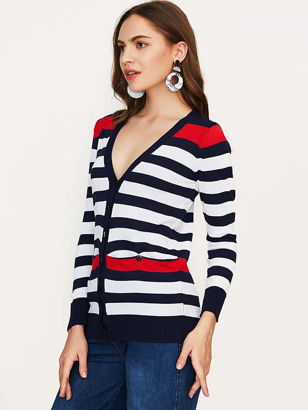 Women's Sports Active Tassel Solid Colored / Striped  Plus Size Puff Sleeve Regular Cardigan, Round Neck Cotton Black / Royal Blue One-Size