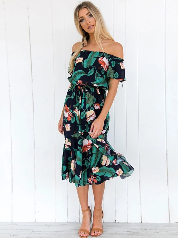 Women's Off Shoulder Party Daily Street chic Slim Chiffon Dress - Floral Geometric Print Boat Neck