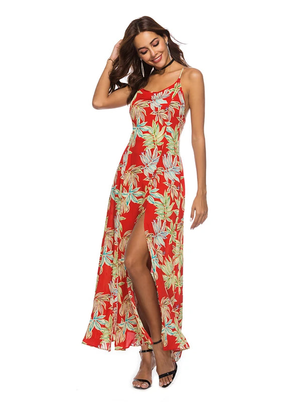 Women's Boho Shift Sundress - Floral Split
