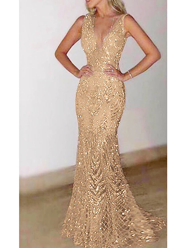 Fashion Glitter Dresses Women's Elegant Trumpet / Mermaid Dress - Solid Colored Sequins Gold Silver