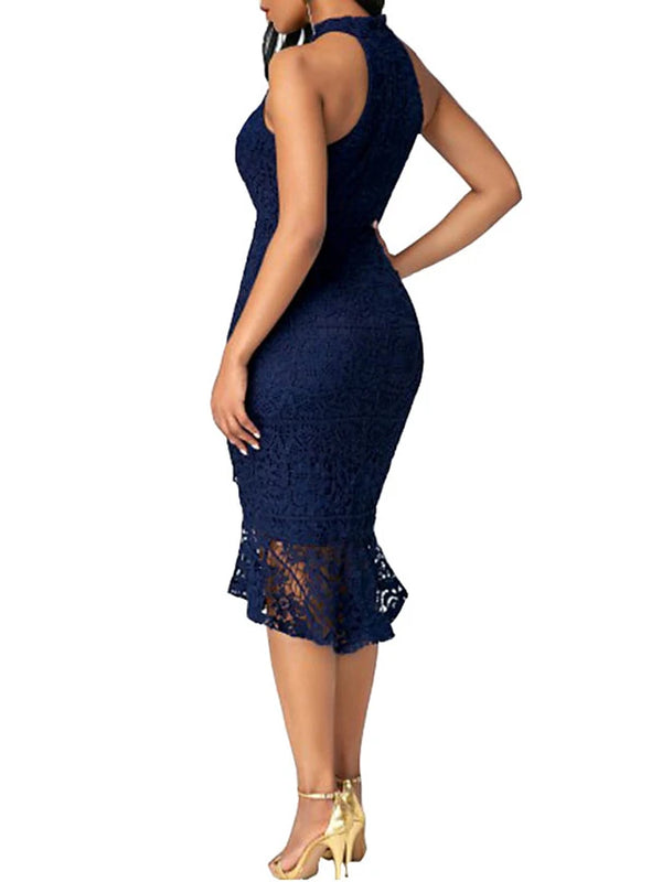 Women's Ruffle Party Club Street chic Bodycon Dress - Solid Colored Lace Ruffle Crew Neck Summer Blue Black Wine