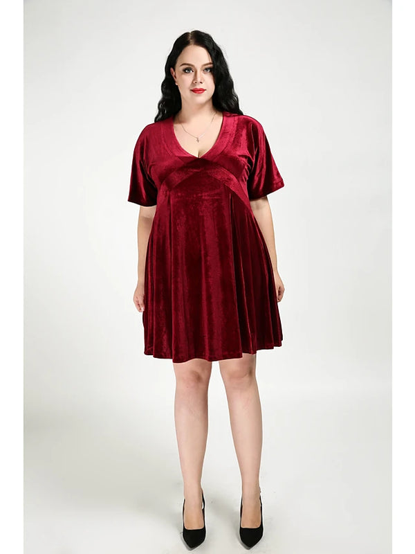 Women's Velvet Plus Size Daily Street chic A Line Dress