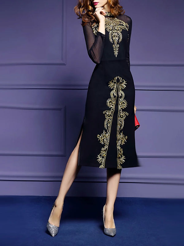 Women's Embroidery Plus Size Daily Slim Sheath Dress