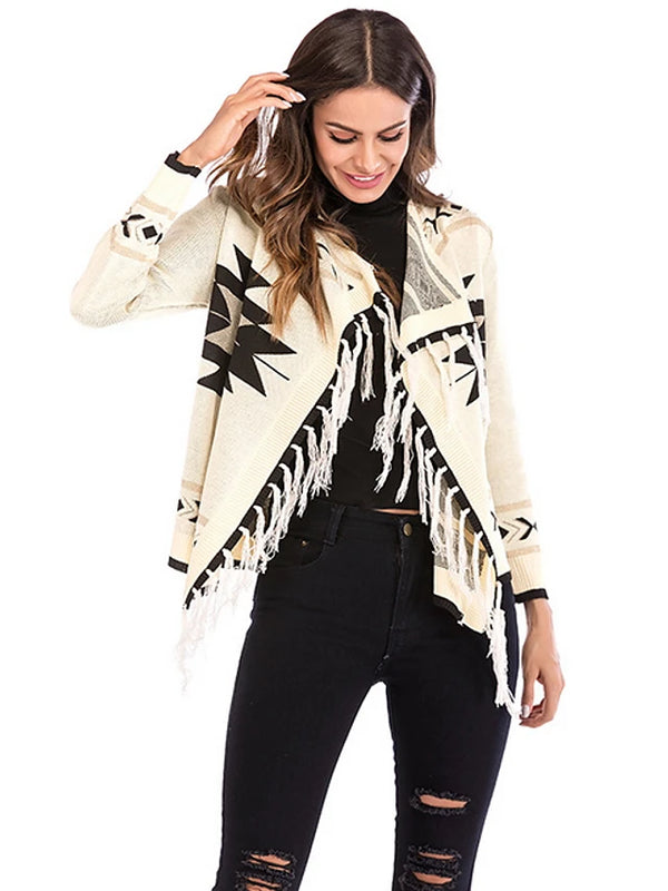 Women's Daily Basic Geometric Long Sleeve Regular Cardigan, V Neck Fall Black / Beige