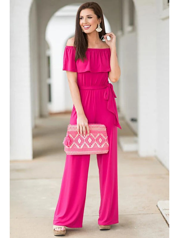 Women's Daily Basic Off Shoulder Black Fuchsia Wide Leg Romper, Solid Colored Backless  Short Sleeve Summer