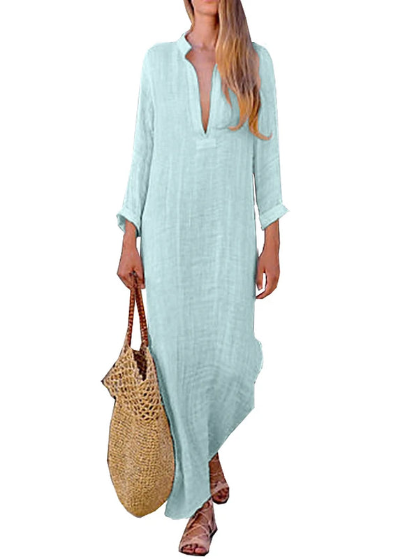 Women's Boho Elegant Shift Tunic Sundress - Solid Colored Patchwork