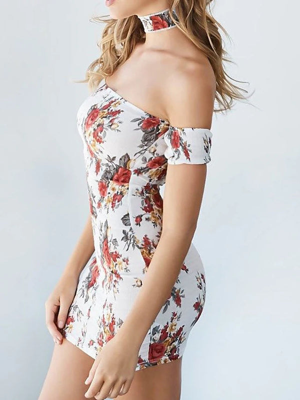 Women's Off Shoulder Daily Holiday Going out Street chic Sophisticated Bodycon Sheath Dress - Floral Color Block Off Shoulder