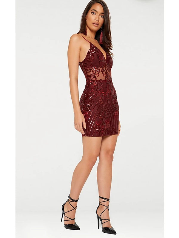 Club Party / Cocktail New Year Eve Sexy Mini Slim Bodycon Dress Sequins Open Back Glitter Strap